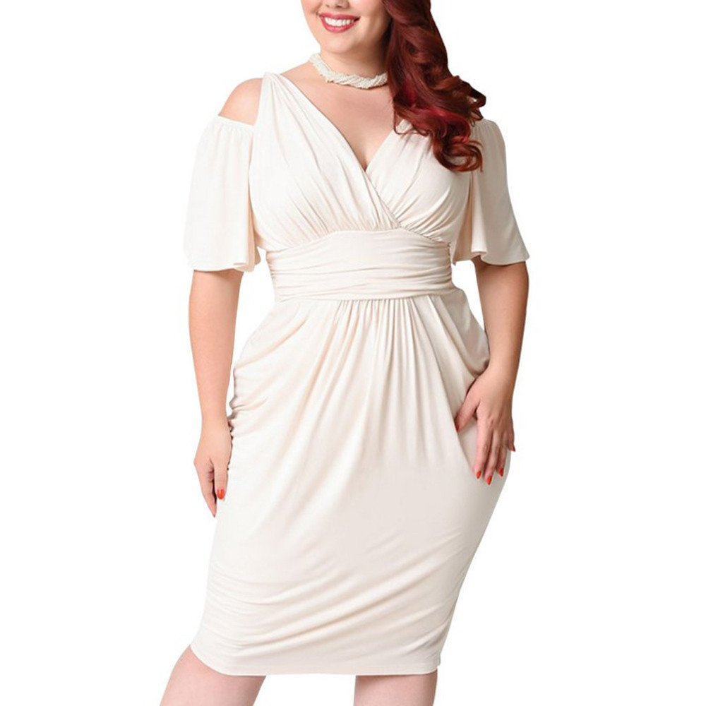 Available at Amazon: Handyulong Fashion Women's Dresses Plus Size Sexy Cold Shoulder Ruched Bodycon Midi Dress Casual Work Office Sundress