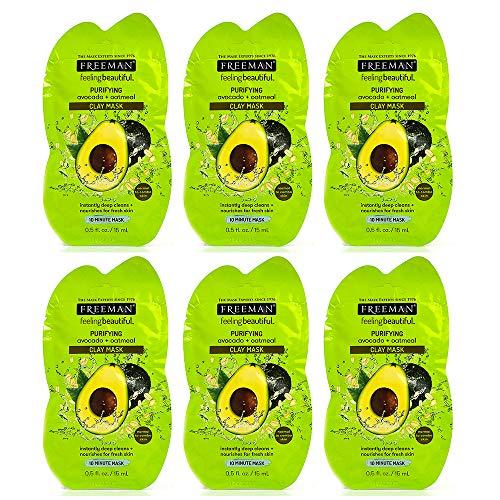 Lot de 6 pièces Freeman masque visage a l'argile purifiant Avocat + Flocons d'avoine 15ml pour peau normale, mixte