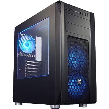 オウルテック FSP製 PCケース ミドルタワーケース Blue LED FAN付 サイドアクリルパネル 1年保証 ブラック CMT230