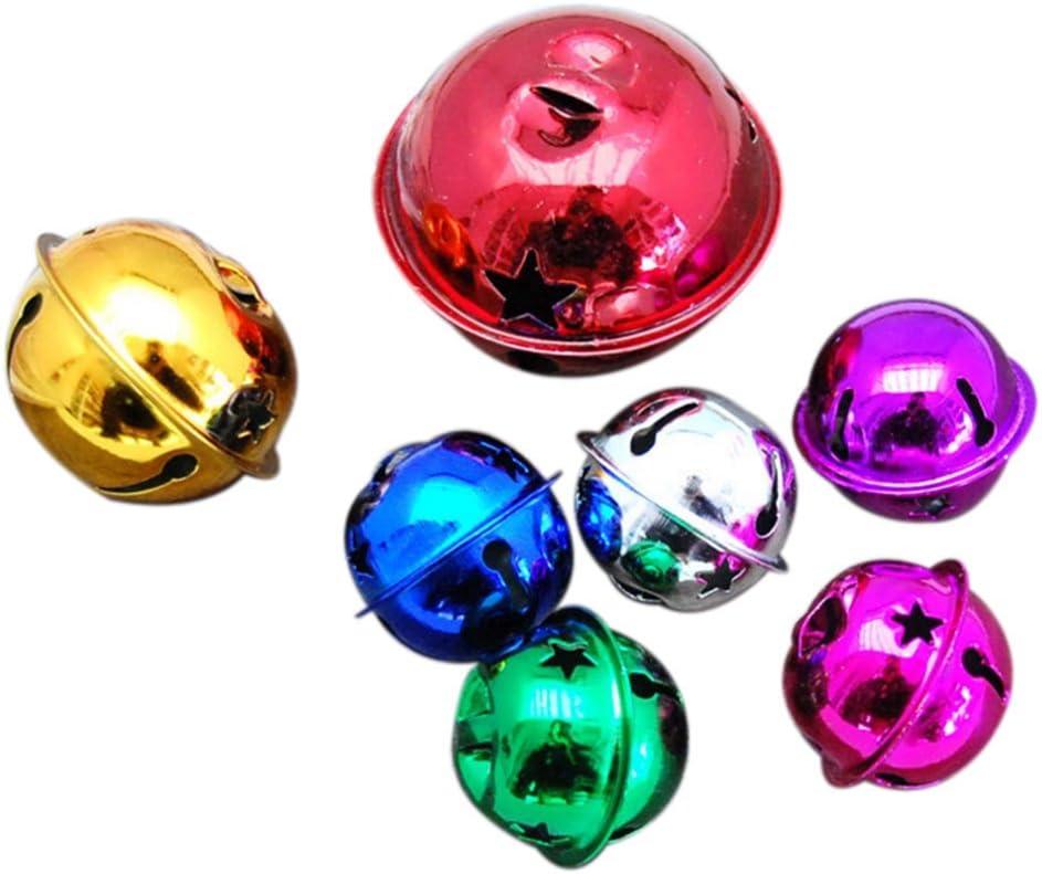 DaoRier Lot de 10 Grelots Petit No/ël Jingle Bells Perles Breloques Bijoux Multicolore 4cm Couleur Al/éatoire