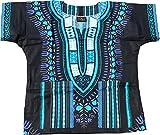RaanPahMuang Unisex Childrens African Dashiki Throw Over Bold Print Boubou Shirt, 3-6 Years, Black - Blue