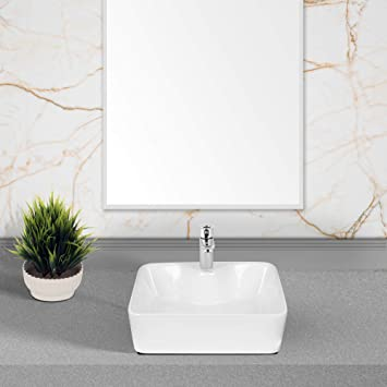 Hindware Vasca Table Top Wash Ceramic Basin With Single Faucet Hole 48 X 37 X 13 Cm Starwhite Amazon In Home Improvement