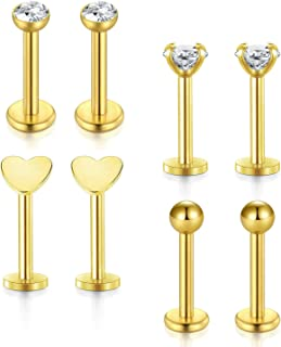 Incaton Forward Helix Earring,16G 8mm Tragus Cartilage Earring Stud Barbell Body Piercing Jewelry