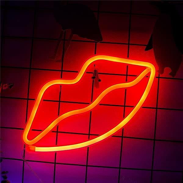 霓虹灯唇标志红色电池供电霓虹灯 led灯餐桌装饰女孩卧室墙壁 D 装饰儿童生日礼物婚礼派对用品霓虹灯标志