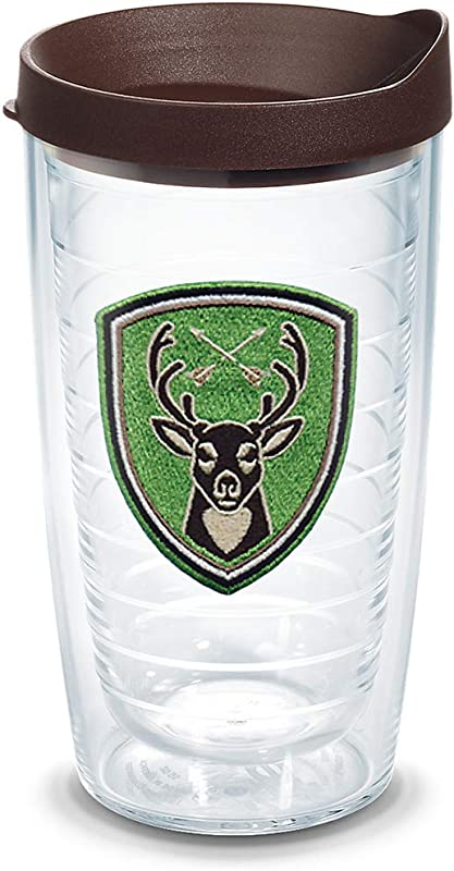 Tervis 1305478 Deer Badge Insulated Tumbler With Emblem And Brown Lid 16oz Clear