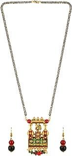 Mangalsutra Indian Jewelry Boho Vintage Antique Ethnic Oxidised Gold Pendant Beaded Necklace Drop Earring Set
