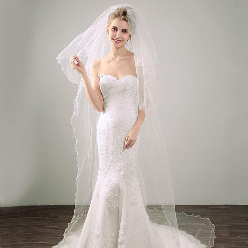 Aluinn Cathedral Wedding Long Veil Pearl Bridal Veil Comb Veil for Bridal Hair Accessories