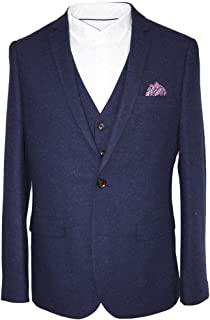 HARRY BROWN 3 Piece Donegal Slim Fit Suit in Dark Blue 36 to 48