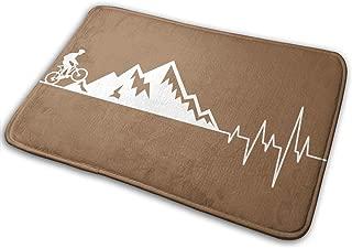 Comfort&products Mountain Bike Heartbeat Door Mats 35.4x23.6 Inches Non Slip Entrance Floor Mat Living Room Mat Home Decor Area Rug