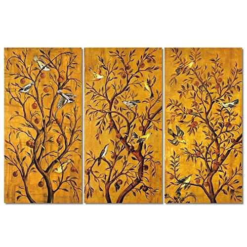 HTRHUA Gouden rijke boom afbeelding canvasdruk schilderij abstracte posters en prints Pop Chinese schilderij muurkunst voor woonkamer wooncultuur 40 * 80cm*3pcs Met frame.