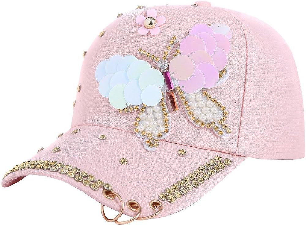 Baseball Caps Hat for Women Men, Metal Circle Sequins Butterfly Decors Applique Adjustable Outdoor Sports Hats