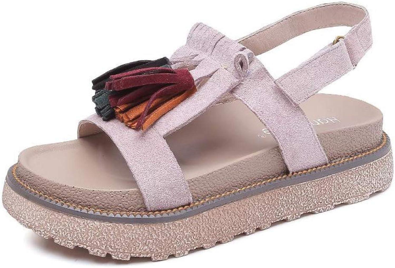 MEIZOKEN Women's Fashion Faux Suede Fringe Platform Sandals Casual Summer Slingback Thong Sandals