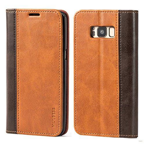 Mulbess Funda Samsung Galaxy S8 [Libro Caso Cubierta] Billetera Cuero de la PU Carcasa para Samsung Galaxy S8 Case, Marrón