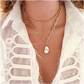 YERTTER Vintage Punk Chunky Choker Simulated Pearl Neckalce Gold Color Boho Jewelry Chain for Women and Girls