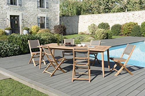 MACABANE 509518 Salon de Jardin Couleur Naturel et Taupe en Teck et Textilène