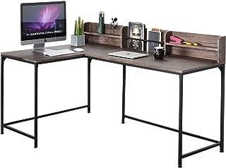 GreenForest L Shaped Desk Industrial Style Large Desktop Corner Computer Gaming Desk Workstation for Home Office, Walnut