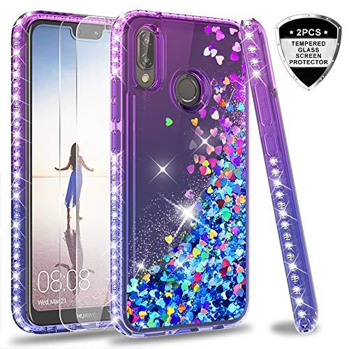 LeYi Funda Huawei P20 Lite Silicona Purpurina Carcasa con [2-Unidades Cristal Vidrio Templado],Transparente Cristal Bumper Telefono Fundas Case Cover para Movil Huawei P20 Lite ZX Azul/Púrpura