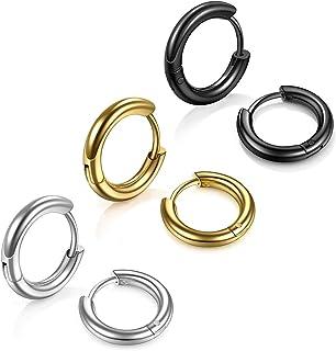 Stainless Steel Hoop Earrings for Men - Hinged Hoop Huggie Piercing Earrings Set For Men Women, Hypoallergenic Lobes Small...