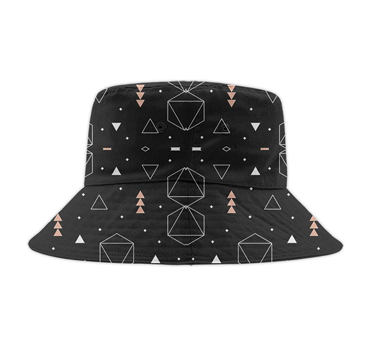 Unisex Washed Cotton Bucket Hat Summer Outdoor Cap Geometric Triangles Rose Gold White