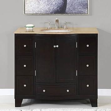 40 In Naomi Single Sink Bathroom Vanity In Expresso White Sink Silkroad Vanity Amazon Com