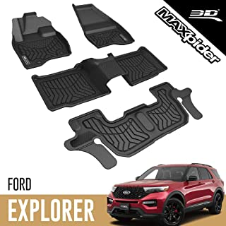3D MAXpider Custom Fit All-Weather Floor Mat for 2017-2019 FORD EXPLORER BLACK MAXTRAC SERIES