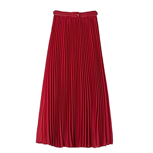 75e5e3af1ba VERYCO Spring Summer Pleated Skirts Elastic Waist Belted Long Skirt for  Women in UK Size 6