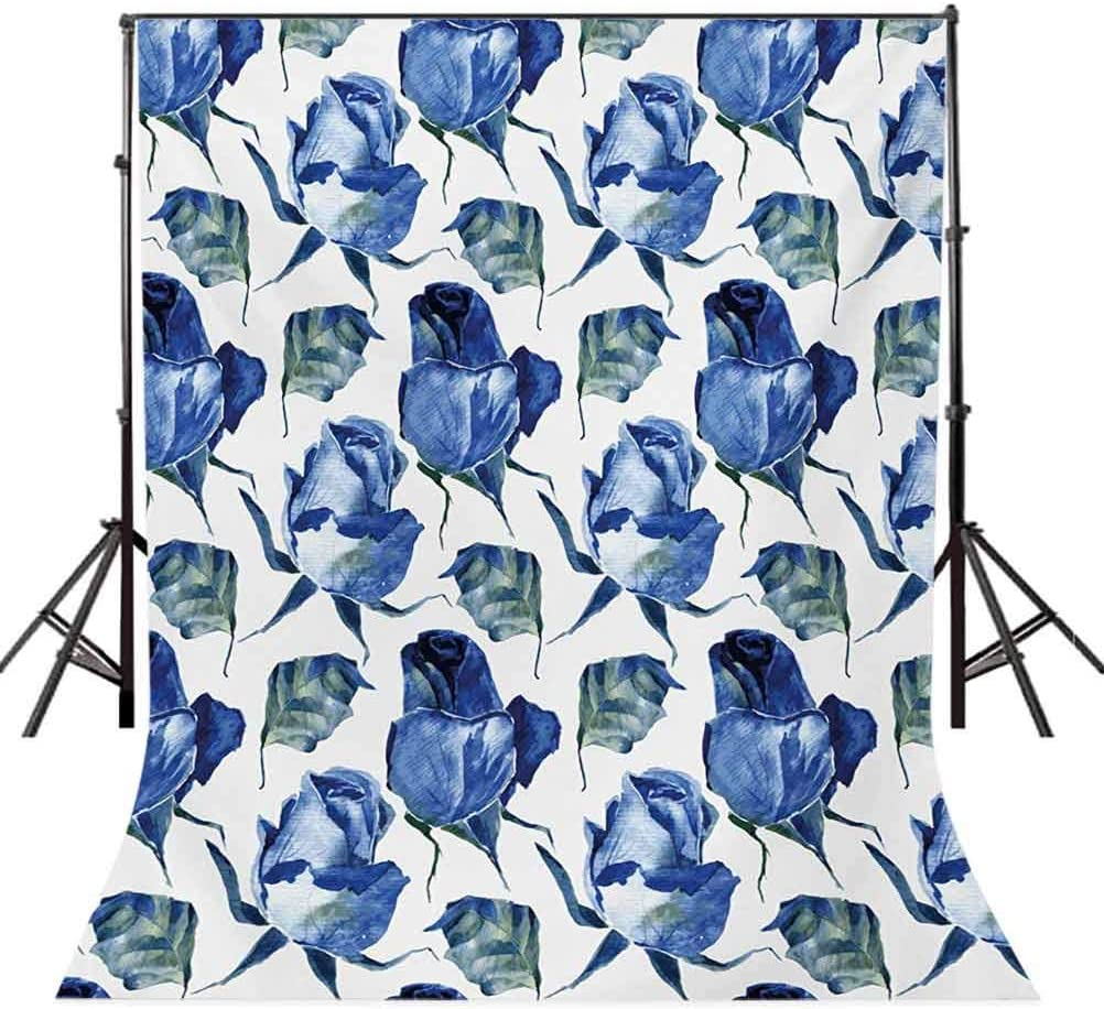 Watercolor 6.5x10 FT Photo Backdrops,Hand Drawn Roses and Leaves Abstract Floral Blooming Nature Theme Background for Party Home Decor Outdoorsy Theme Vinyl Shoot Props Violet Blue Slate Blue
