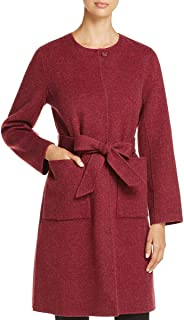 Eileen Fisher Claret Brushed Wool Double Face Round Neck Belted Coat