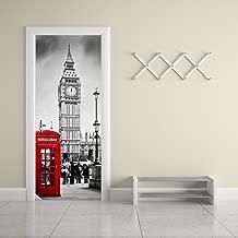 Fake 3d Door Stickers London Style Big Ben Telephone Booth Street Mural Home Decoration City Scenery Vinyl Wallpaper