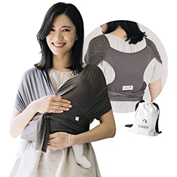 Konny Baby Carrier Summer | Ultra-Lightweight, Hassle-Free Baby Wrap Sling | Newborns, Infants to 44 lbs Toddlers | Cool and Breathable Fabric | Sensible Sleep Solution (Mocha, 2XS)