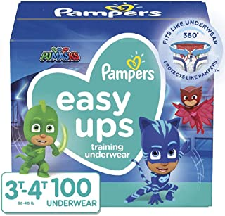 Pampers Potty Training Underwear for Toddlers, Easy Ups Diapers, Training Pants for Boys and Girls, Size 5 (3T-4T), 100 Co...
