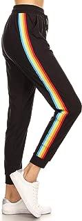 Women's Black Rainbow Side Tape Stripe Jogger