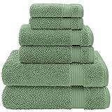 Hotel & Spa Quality, Absorbent & Soft Decorative Kitchen & Bathroom Sets, Turkish Cotton 6 Piece Towel Set, Includes 2 Bath Towels, 2 Hand Towels, 2 Washcloths - Sage Green