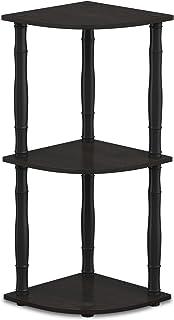 وحدة رفوف متعددة الأغراض على شكل رف للركن، من فيورينو تحتوي على 3 طبقات، لون بني داكن / أسود كلاسيكي