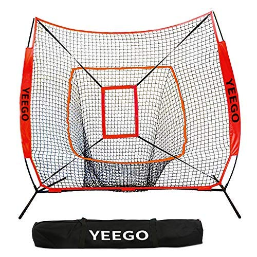 YEEGO DIRECT 7X 7 Füße Baseball und Softball Übungsnetz Tragbares Pitching Netz mit Tragetasche & Bogenrahmen & Bonus Strike Zone zum Schlagen,Pitching, Batting &Fielding Training