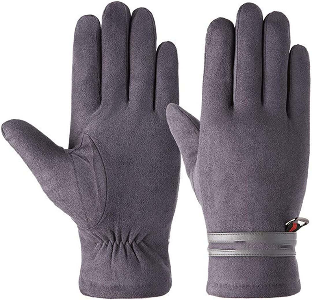 Winter Men Sports Plush Thick Warm Cycling Riding Mittens Elastic Suede Leather Touch Screen Driving Gloves B Gray