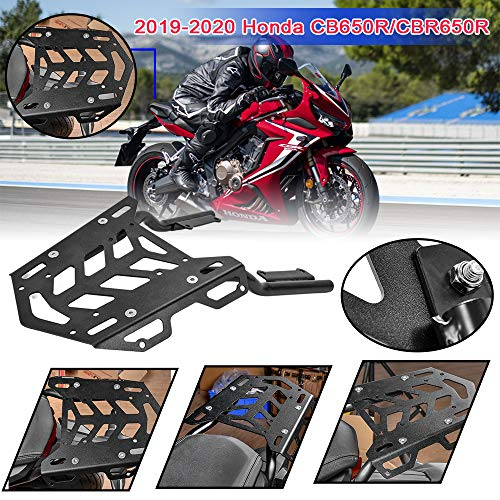 LoraBaber Motorcycle Rear Luggage Rack Aluminum Extend Cargo Bag Case Box Support Carrier for H-o-n-d-a CB650R CBR650R CB 650R CBR 650R 2019 2020