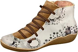 Stivaletti Stivali Invernali Scarpe da Donna Lacci Tacco Grosso Stivali Piatti con Lacci in Pelle