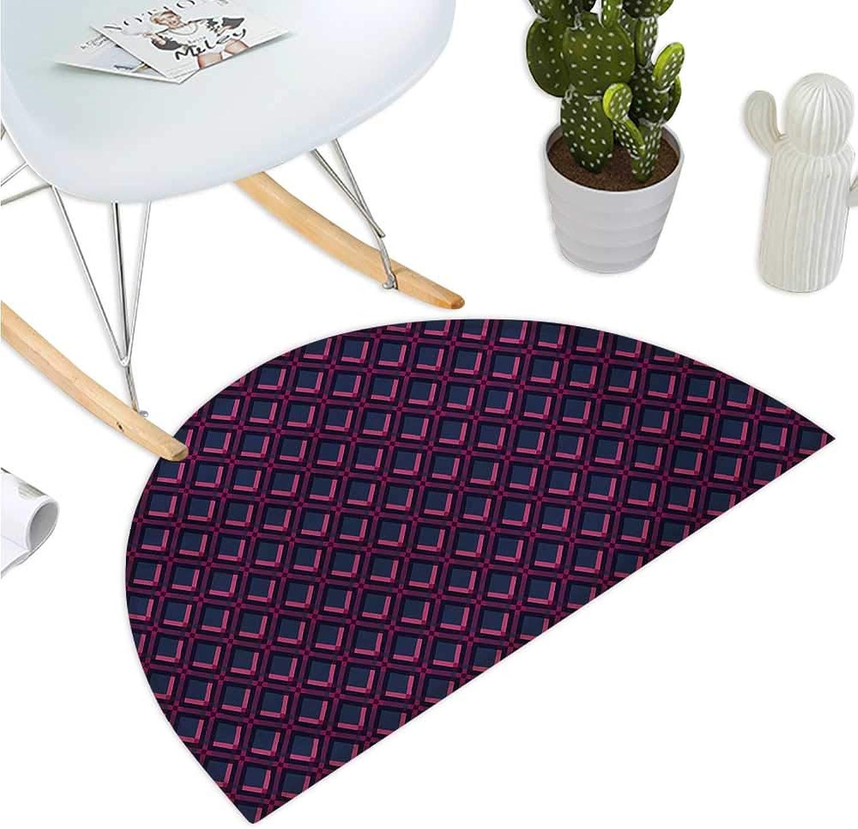 Geometric Semicircular Cushion Vibrant Digital Featured Diamond Symmetric Hexagon Contemporary Print Halfmoon doormats H 43.3  xD 64.9  Pink Plum Dark bluee