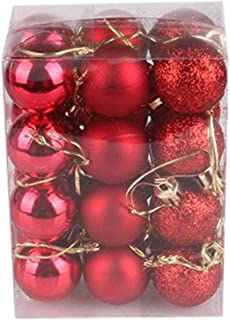 30mm Christmas Tree Ball Bauble Hanging 2019 Home Party Ornament Decor,Red