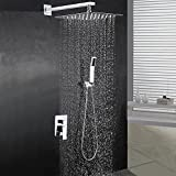 "BOHARERS Bathroom 10"" Rainfall Shower Head with Handheld - Wall Mount Stainless Steel..."