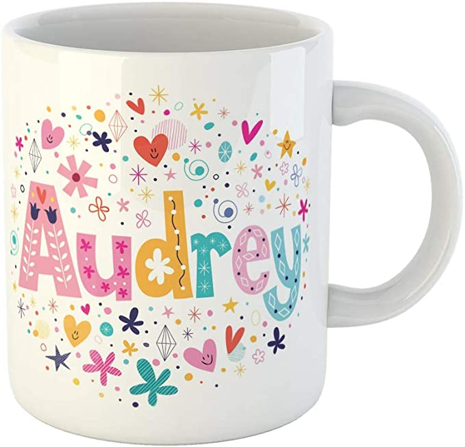 Awowee Coffee Mug Avatar Audrey Female Name Lettering Baby Bright