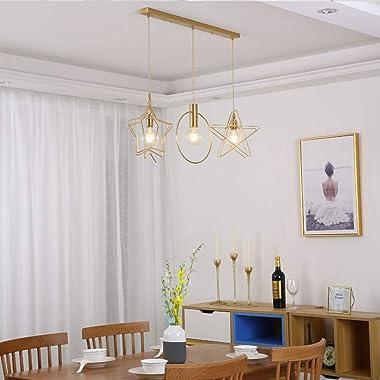 Led Chandelier, Star Brass 3 Light Round Chandelier,for Bedroom Dining Room Living Room Office Restaurant Bar Cafe Lighting