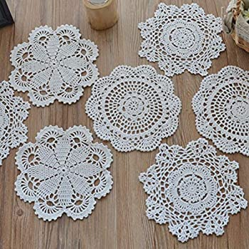 SouthMage 12 Hand Crochet Lace Doilies Lot White Round Table Runners Wedding Coasters