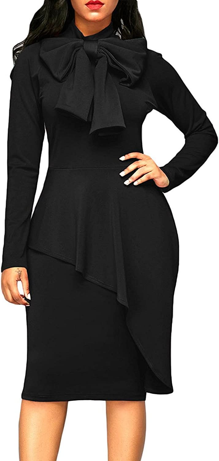 AISKLY Women's Tie Neck Dress Bodycon Solid color Long Sleeve Pencil Formal Dresses