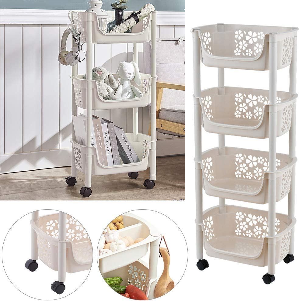 Warmiehomy Movable Storage Trolley Rolling Cart with Lockable Wheels Fruit Vegetable Rack for Kitchen Bathroom Office Storage