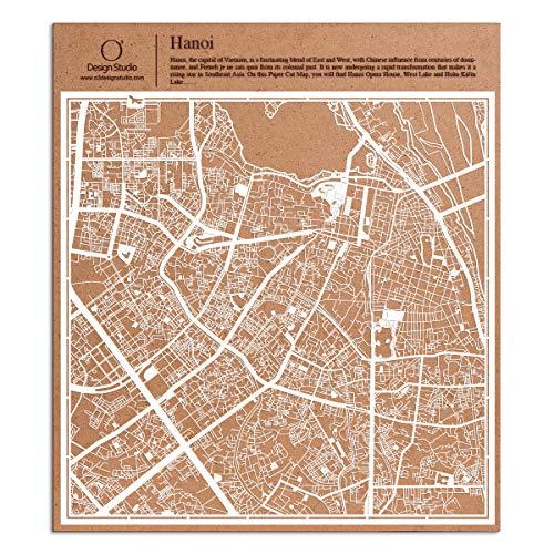 Hanoi Scherenschnitt Karte, Weiß 30x30 cm Papierkunst