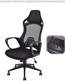 Executive High Back Race Car Style Chair Mesh Seats Soft Sponge Upholstery 360 Degree Swivel Home Office Gaming Desk Task - Black # 1501
