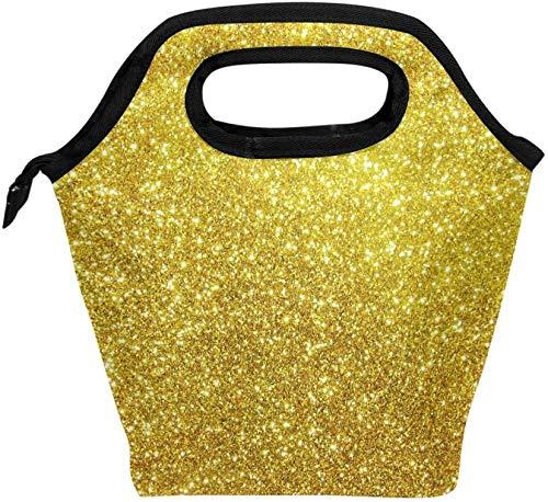 Fiambrera, bolsa de asas con aislamiento de estrellas con purpurina dorada, heladera de hielo, bolsa de asas para hombres, mujeres, adultos, niños, niñas, niños