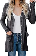 Womens Ladies Cardigan Solid Long Sleeve Pocket Button Coat Outerwear Tops